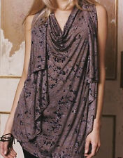 French Connection Sleeveless Long Tunic Drape Front Layer Top Brown Black 8-14