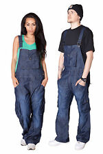 Denim Bib Overalls with Turn Up for Men Women Dark Blue Unisex Casual Jeans