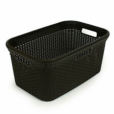 CURVER LAUNDRY STYLE BASKET 45L  RATTAN  Mangle plastic container dark brown ENG