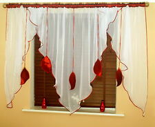 LEAVES  READY MADE CURTAINS VOILE TAFFETA, BROWN,ORANGE,GRAY,VIOLET,BURGUNDY