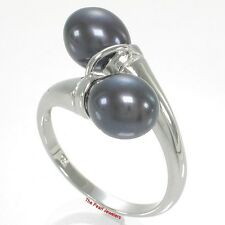 925 Sterling Silver Twin AAA Black Freshwater Cultured Pearl Cocktail Ring