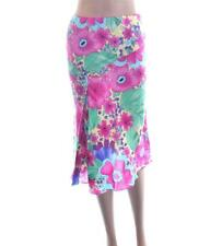 Sexy Ladies Pink Blue Green Retro Floral Long Knee Length Summer Skirt Size 8 10