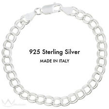 "925 Sterling Silver Classic Charm Bracelet 7"" Made in Italy"
