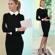 Women's Cotton Long Sleeve Slim Bodycon Stretch Solid Casual Formal Dress S-XXL