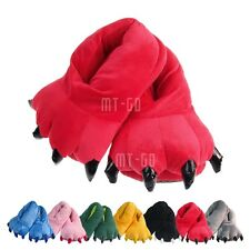 New Warm Bear Claw Plush Stuffed Winter Slippers Soft Toy Home Slipper Shoes Red