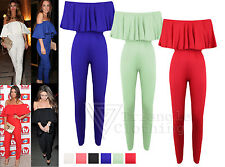 New Ladies Womens Celebrity Towie Frill Off The Shoulder Cap Sleeve Jumpsuit
