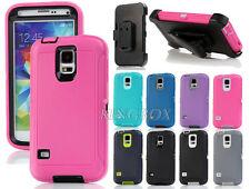 Heavy Duty Rugged TPU Como Case Cover + Belt Clip Holster for Samsung Galaxy S5