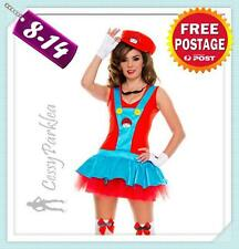 Ladies Super Mario Luigi Brothers Red Plumber Fancy Dress Up Party Costume
