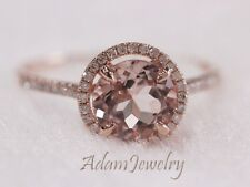 8mm Halo Morganite Ring Solid 14K Rose Gold&Diamonds Engagement / Wedding Ring