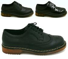 WOMENS FLAT CASUAL LACE UP CHUNKY PLATFORM VINTAGE BROGUE WORK SHOES SIZE