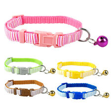 Stripe Pattern Nylon Small Dog Puppy Cat Collar with Bell Neck for 8-13""