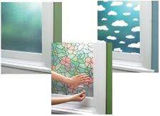 Home Window Privacy Film Tint Decor Rain Stained Clouds Adhesive Shade Curtain