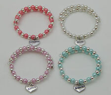 PEARL & SILVER BRACELET WITH FAMILY MEMBER CHARM CHOICE PINK BLUE OR WHITE GIFT