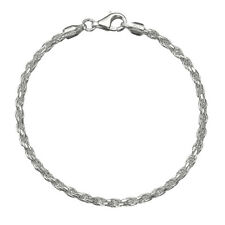 Solid 925 Sterling Silver 3mm Italian Diamond Cut Twisted Rope Chain Anklet