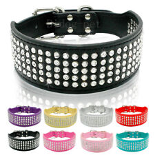 5 Rows Rhinestone PU Leather Pet Dog Collars For Medium Large Dog XS-XL 5cm Wide