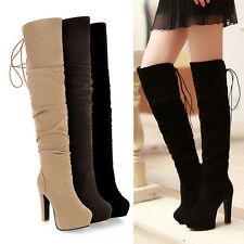 womens back Lace up winter high heel platform over the knee high thigh boots