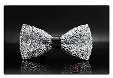 New Women Men Faux Leather Crystal Shining Fashion Bow Tie Bowtie Wedding Party