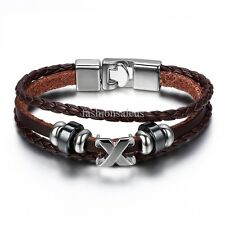 Fauxy Leather Weave Cord Stainless Steel Wristbands Mens Womens Bracelets 8.25""