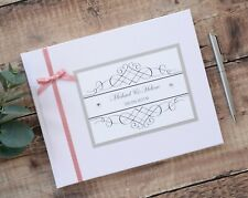 ♥ White or Ivory Personalised Wedding Guest Book ♥ Diamante Heart Detail ♥