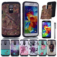 Rubber + Hard PC 2 IN 1 Combo Rugged Scrub Case Cover For Samsung Galaxy S5 G900