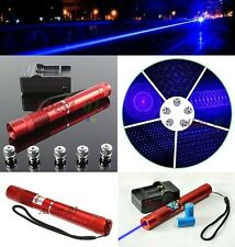 1 W Military High-Powe Blue Beam Burning Laser Pointer+Battery+Charger+BOX+STAR