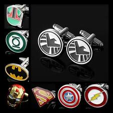 Buy 6 Get 1 Free SUPERHERO COMICS MOVIE SILVER BLK WHT WEDDING MENS CUFF LINKS
