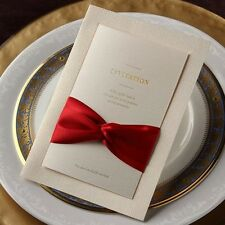 Formal White Giant Red Silk Tie Wedding Business Baptism Invitations Cards