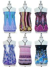 NWT Jon & Anna Smocked Halter Top in Blue and Pink, 6 Different Patterns, S-XL