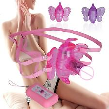 NEW Female Wireless Remote Control Strap-On Dildo Vibrator Wearable Butterfly A8