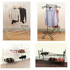 Shabby Chic Vintage Style Black, Cream 2 Tier Metal Shoe Rack  & Clothes Rail