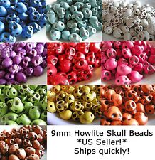 Skull Howlite Turquoise Magnesite Halloween Day of the Dead Zombie 9mm Assorted