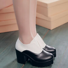 Casual Womens Mixed-color Thick High Heel Platform Round Toe Ankle Boot Shoes