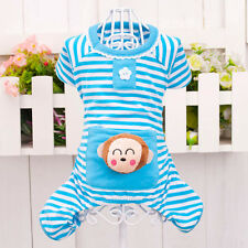 Small Pet Dog Stripes Pajamas Coat Cat Puppy Pet Clothes Apparel Clothing XS-XL