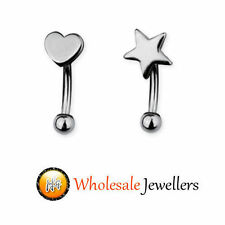 1pc New 316L Steel Heart Star Eyebrow Curved Barbell Bar Ball Ring Body Piercing