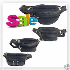 REAL LEATHER BUM BAG WAIST MONEY WALLET TRAVEL HOLIDAY CHANGE POUCH BELT POCKETS