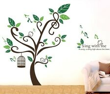 Singing Birds Tree Cage Wall Stickers Vinyl Decal Home Art Decor Manul Removable