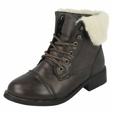Girls H4060 Brown synthetic ankle boot fur trim   by CUTIE