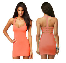 Womens Coral Pink Leona Fitted Strappy Ladder Back Bodycon Party Dress