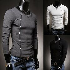 Hot Men's Long Sleeve V-Neck T-shirt Inclined Buckle Decorate Solid Stretchy