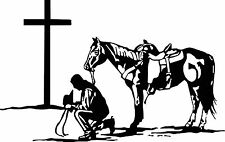 COWBOY PRAYING, PRAYS WITH PAINT HORSE VINYL DECAL STICKER