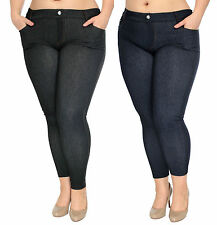 Plus Size Demin Jeans Ladies Rhinestone Pockets Jeggings Skinny Tights Pants