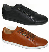 Mens Black Tan Leather Look Trainers Casual Smart Lace Up All Sizes
