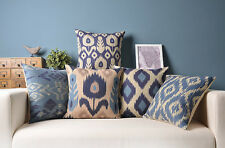 Abstract geometric Navy blue box ikat Flowers pillow cover cushion case sham