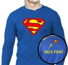 Superman T-shirt - V-Neck Full Sleeve - Royal Blue - Size S,M,L,XL.
