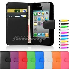 New Flip Wallet Leather Case Cover For Apple iPhone 4 5 5S Free Screen Protector