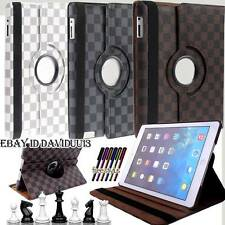 360 Rotating Stand Chessboard Leather Case Cover For Apple Samsung Google Amazon