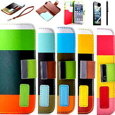Hybrid PU Leather Credit Card Wallet Flip Stand Case Cover For iPhone 5 5S +Film