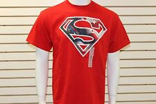DC Comics Originals Young Men's Superman Logo With American Flag Design Red SS