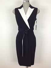 Calvin Klein NWT Black Dress with White Lapel, Self Reversible belt, size 2-12