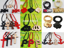 New Fashion Multi Wooden Hip-Hop Long Rosary Beaded Pendant Wood Necklace Chain